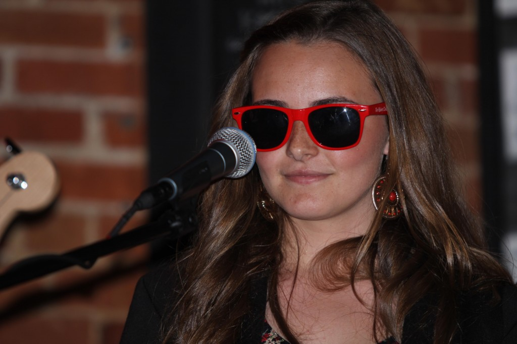 Danni wearing Official Deller Band Red Sunglasses at The Lighthouse Cafe, Album Release Party 2011